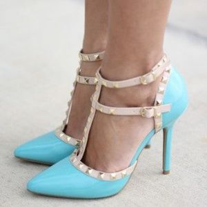 Shoes - Mint Stiletto Studded Faux Suede Ankle Strap Heel